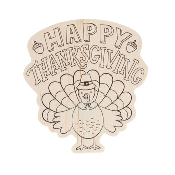 Happy Thanksgiving Turkey Wood Shapes