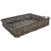 Brown Woven Wicker Rectangle Tray
