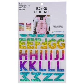 Holographic Rainbow Foil Letter Iron-On Applique Alphabet