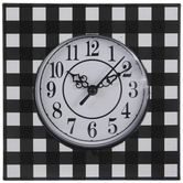 Black Buffalo Check Metal Wall Clock
