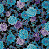 Blue Multi Floral Paisley Cotton Calico Fabric