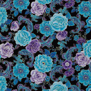 Blue Multi Floral Paisley Cotton Calico Fabric