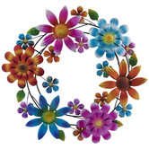 Multi-Color Floral Wreath Metal Wall Decor