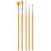 Gold Nylon Paint Brushes - 5 Piece Set