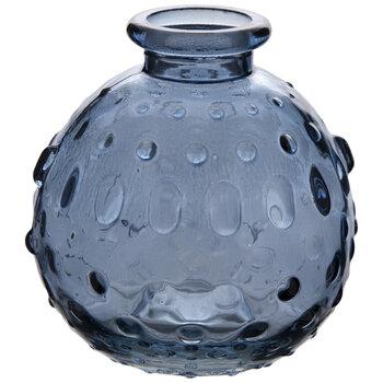 Blue Round Hobnail Glass Vase