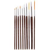 Nylon Liner & Round Paint Brushes - 10 Piece Set