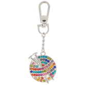 Rhinestone Yarn & Knitting Needles Keychain