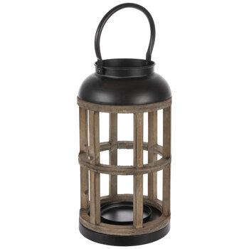 Brown Round Wood Lantern