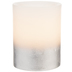 White & Metallic Silver LED Pillar Candle - 3