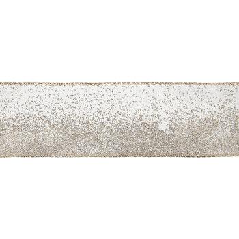 "Ombre Gold Glitter Wired Edge Ribbon - 2 1/2"""