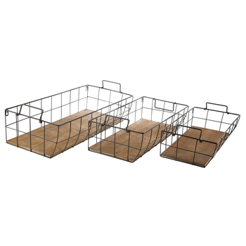 Black Wire Metal Wall Basket Set