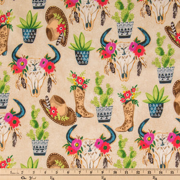 Desert Cowgirl Cotton Calico Fabric