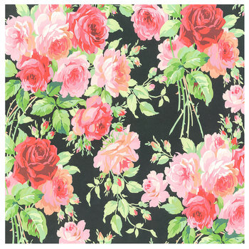 """Rose with Black Background Scrapbook Paper - 12"""" x 12"""""""