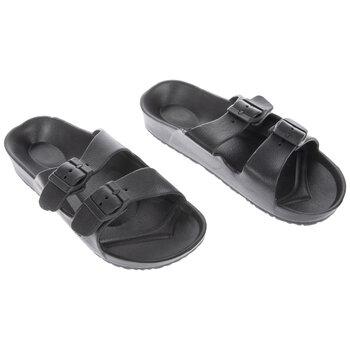 Black Buckle Foam Sandals - Size 7