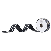 "Black & White Polka Dot Grosgrain Ribbon - 7/8"""