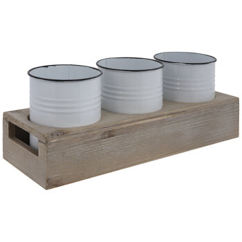 White Enamel Containers Caddy