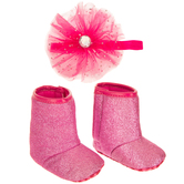 Hot Pink Glitter Baby Boots & Headband