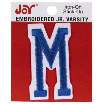 "Blue Junior Varsity Letter Iron-On Applique M - 2"""