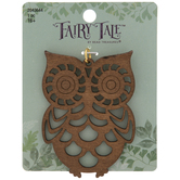 Brown Cutout Owl Wood Pendant