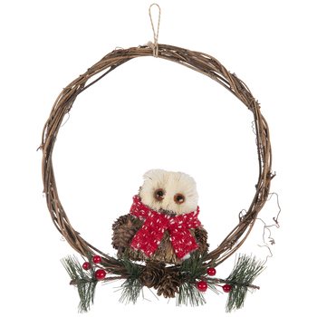 Owl Wearing Scarf Wreath Embellishment