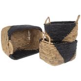 Black & Natural Rectangular Basket Set