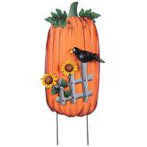 Pumpkin & Crow Metal Garden Stake