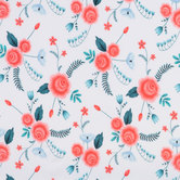 White & Pink Floral Knit Fabric