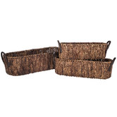 Dark Brown Oval Maize Basket Set With Handles