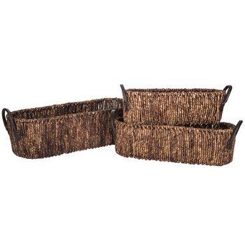 Dark Brown Oval Maize Basket Set With Handles