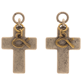 Cross & Ichthys Earring Charms