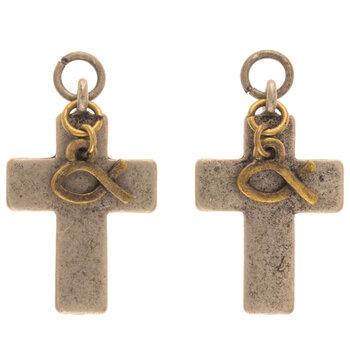 Cross & Ichthys Earring Charms