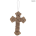 White Wood Wall Cross Wrapped With Pearls