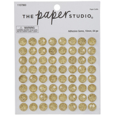 Gold Glitter Round Rhinestone Stickers