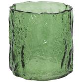 Green Hand-Blown Glass Vase