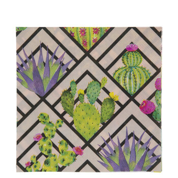 Pink Geometric Print Succulent Napkins