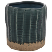 Dark Teal Ridged Flower Pot