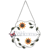 Butterfly Welcome Wreath Metal Wall Decor