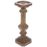 Brown Wood Look Pedestal Candle Holder