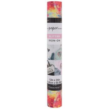 Neon Pink & Blue Splatter Glitter Iron-On Vinyl