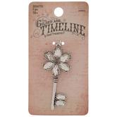 Rhinestone Flower Key Pendant