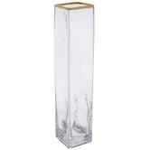 Gold Rim Rectangle Glass Vase