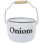 Onions White Enamel Metal Pot
