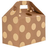 Kraft & Gold Polka Dot Gable Box