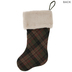 Green Plaid Stocking With Faux Fur Cuff
