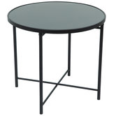 Black Round Metal Accent Table