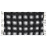 Black & White Hashed Fringed Rug