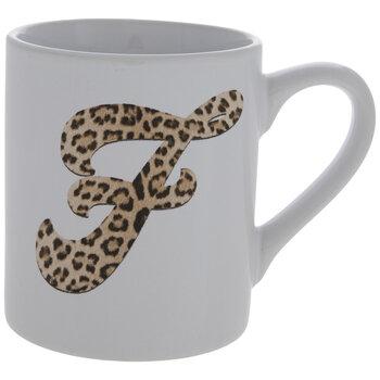Leopard Print Letter Mug - F