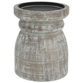 Round Whitewash Wood Candle Holder
