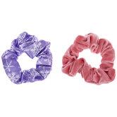 Pink Velvet & Purple Snowflake Scrunchies