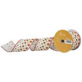 "Fall Polka Dot Wired Edge Burlap Ribbon - 2 1/2"""